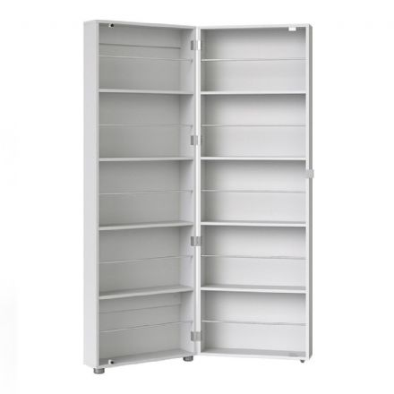 Shoes Shoe Cabinet 1 Door w/ Mirror in White